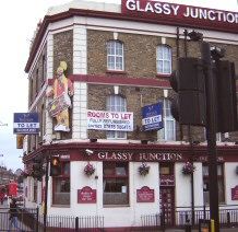 The Glassy Junction - a typical 'British' pub in Southall, but with a giant figure of a Bhangra dancer on the side (Jerri Daboo, 4 Feb 2011)