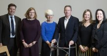 From left Mike Shore-Nye, Registrar, Emma Loosley, Jo Gill, Professor of English and Pro-Vice-Chancellor of the College of Humanities, Frank Gardner, Sally Faulkner, Janice Kaye, Provost