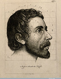 Wellcome images Head of bearded man. proportions marked. Etchingby A. von Perger, ca. 1850